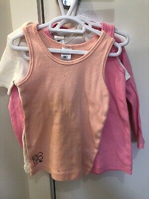 4 X Bonds Baby Girl Singlets And Tops Bundle Size 1 (12-18 Months)