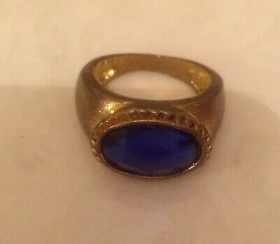 Ancient Antique Bronze Or Copper Ring With A Large Dark Blue Gem Stone Size P