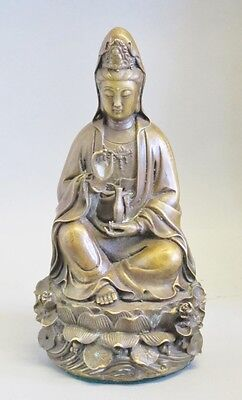 """Superb 8"""" CHINESE BRONZE Figure of Guanyin w/ Lotus Seat  c. 1930  antique"""