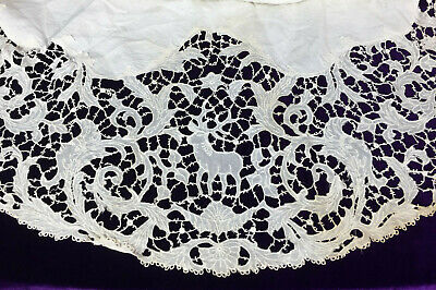 RARE Stag Forest Gods Motif Lace Table Scarf Figural Cantu
