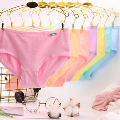 Women Cotton Underwear Briefs Solid Panties Intimates Cute Lingerie Knickers