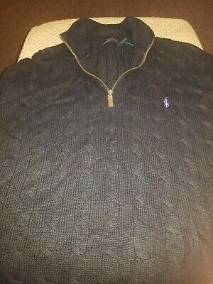 Vintage Polo Ralph Lauren Pima Cotton Mens 2xl XXL Big black Sweater Rare 90s
