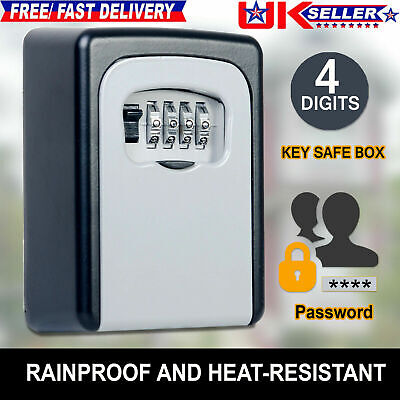 4 Digit OUTDOOR SECURITY WALL MOUNTED KEY SAFE BOX CODE SECURE LOCK STORAGE Hi-Q