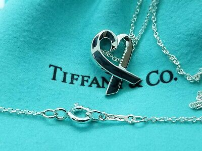 TIFFANY & Co PALOMA PICASSO STERLING SILVER LOVING HEART NECKLACE PENDANT 16 in.