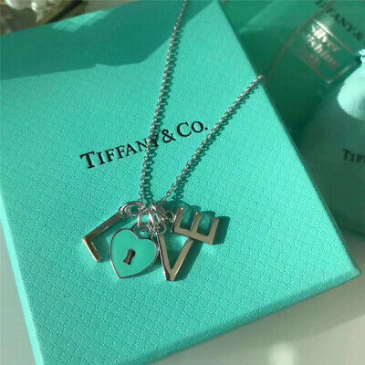 Tiffany & Co Silver Blue Love Letter Sterling Silver Necklace
