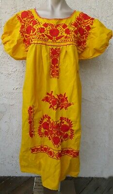 Vintage Mexican ethnic yellow cotton red floral embroidered s/s maxi dress sz L