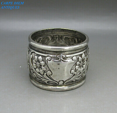 ANTIQUE NICE HEAVY SOLID STERLING SILVER EMBOSSED NAPKIN RING 42g SHEFFIELD 1903