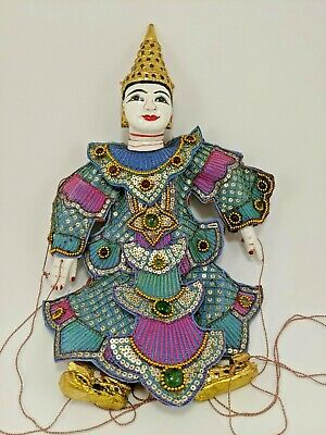 """Antique Thailand Asian Marionette Wooden Puppet Hand Painted 14""""."""