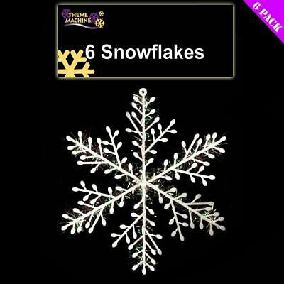 6 Large Sparkle Snowflakes 21cm Christmas Hanging Decoration - Tree Wreath Door