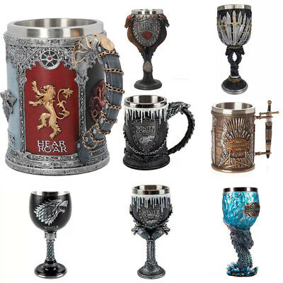 Game of Thrones Mug Goblet Stainless Steel Resin 3D Beer Tankard Coffee Cup Gift