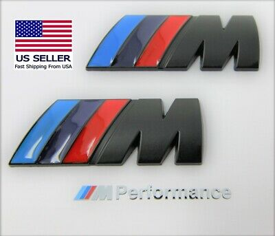 2 x M Badge Metal Emblem Matte Black M-Power fits BMW M2 M3 M4 M5 M6
