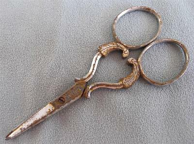Antique Sewing Scissors Victorian Steel Embroidery Engraved Handles c1890