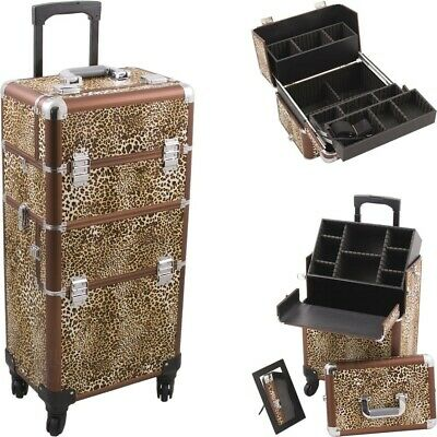 Cosmetic Luggage Makeup Case 4 Wheels Rolling Storage Extendable Trays Dividers