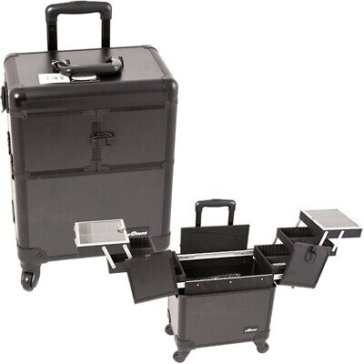 3-Tier Accordion Trays Pro Rolling Aluminum Interchangeable Cosmetic Makeup Case