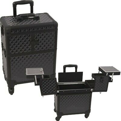 Makeup Case Luggage 3 Tier Accordion Trays Pro Rolling Aluminum Interchangeable