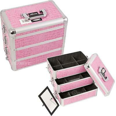 """Cosmetic Case Bag Interchangeable Stackable Tray Pro Aluminum 14.5""""x9.5""""x13.25"""""""