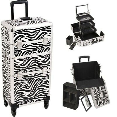 4-Wheel Pro Rolling Makeup Case 3-Tier Extendable Tray Mirror Brush Holder I3561