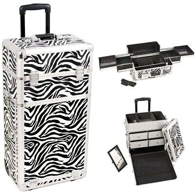 Cosmetic Case Drawer Luggage Zebra Textured Print Rolling Aluminum Slide Tray
