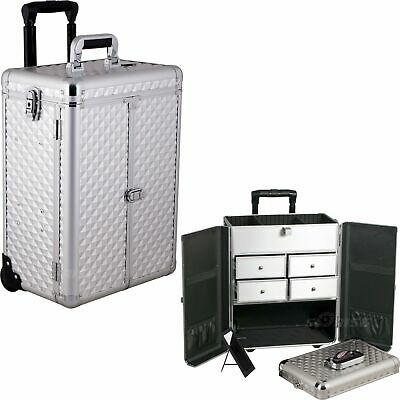 Makeup Case French Door Opening with Split Drawers Interchangeable Pro Rolling