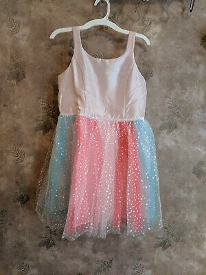 Cat & Jack Girl's Pink Dress Large Pink and blue sparkle tool overlay NEW w/Tag