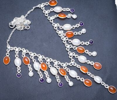 "Carnelian,River Pearl and Amethyst 925 Sterling Silver Necklace 15.75+2"" Y5500"