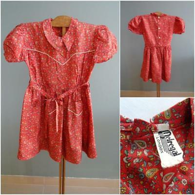 Vintage 1950s Dress Young Girls Red Green Yellow Printed Paisley 50s