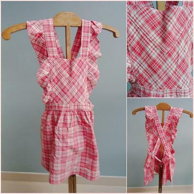 Vintage Apron Pinafore Pinny 1950s Young Girls Red Printed Cross Over Back