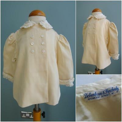 Vintage Baby Jacket 1950s Rob Roy Cream Babys MOP Mother of Pearl Buttons Lace