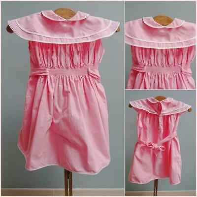 Vintage 1950s Dress Young Girls Pink White Piped Wide Collar Detail Childrens