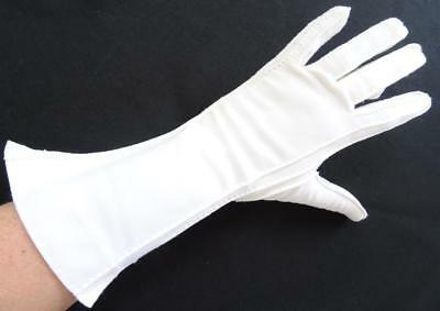 Vintage Gloves 1960s Ladies Below Elbow Length Stitched Detail Cream Nylon