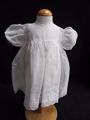 Vintage 1930s Dress Young Girls White Muslin Floral Embroidered Flowers
