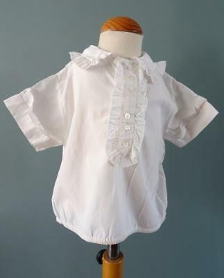 Vintage Blouse Shirt 1950s Childs Frill Collar Cream Cotton
