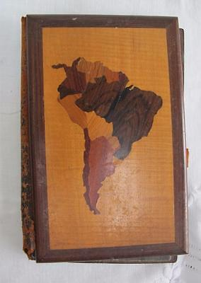 Antique Blotter Folio Book South America Various Inlaid Woods Treen Desk Top