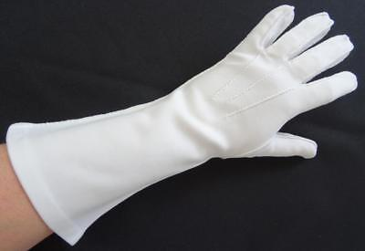 Vintage Gloves 1960s Ladies Cream Nylon Below Elbow Length Stitched Detail