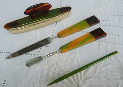 Vintage Bakelite Manicure Set 1930s Art Deco Green Butterscotch Marbled Tools