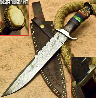 Louis Martin Rare Custom Handmade Damascus Art Hunting Knife Crown Antler