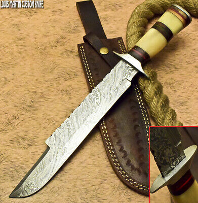 Louis Martin Rare Custom Handmade Damascus Art Hunting Bowie Knife Camel Bone