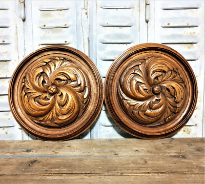 Pair Gothic rosette ornament furniture Antique french salvage carving sculpture
