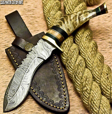 Louis Martin Custom Handmade Damascus Art Hunting Kukri Knife Ram's Horn
