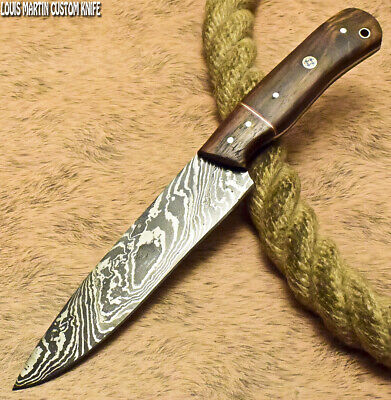 Louis Martin Rare Custom Handmade Damascus Art Hunting Chef Knife Walnut Wood