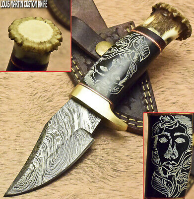 Louis Martin Custom Handmade Damascus Hunting Knife Crown Antler Scrimshaw