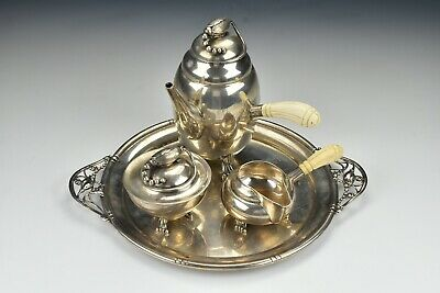 4-Piece  Blossom Pattern Sterling Silver Tea Set In the Style of Georg Jensen