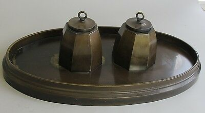 "Large Signed 18"" Antique BRONZE Inkwell  Art & Crafts Style  c. 1920   sculpture"