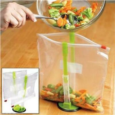 1PC Hands Free Baggy Rack Clip Kitchen Food Drying Storage Bag Holder Non Sip LO