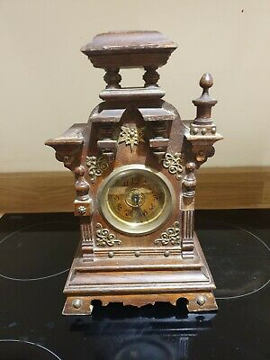 Antique german musical clock architectural style clock twin sprung movement