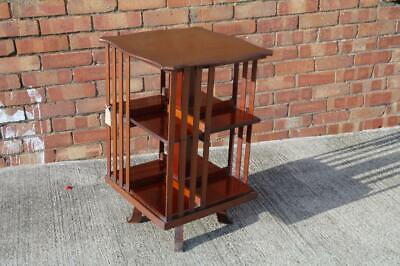 Antique Mahogany Edwardian Revolving Bookcase / Side Table Small-Medium Sized
