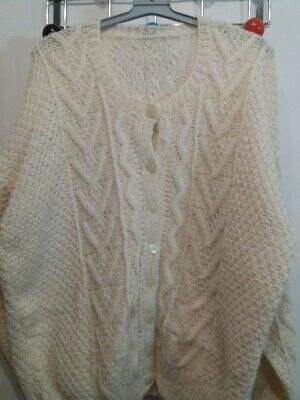 "Cream Hand Knitted Light Weight Aaron Cardigan - 46"" Chest Unstretched"