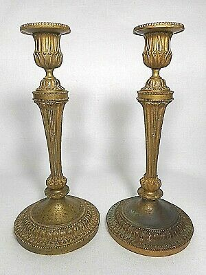 Superb Pair of 19th Century French Bronze Empire Period Candlesticks, ca 1800-10