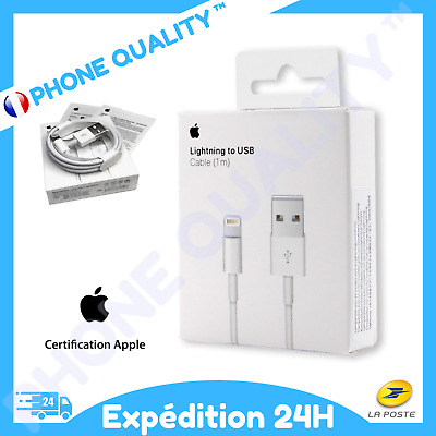 CHARGEUR APPLE CABLE ORIGINAL 1M USB Pour IPHONE 5/5S/6/6S/7/8/X/XS/XR/11/11PRO