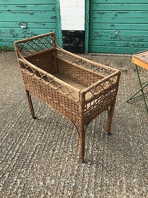 Vintage Rattan Baby Cot On Wheels Approx 1953